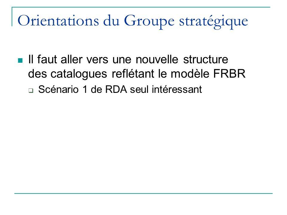 Orientations du Groupe stratégique Il faut aller vers une nouvelle structure des catalogues reflétant le modèle FRBR Scénario 1 de RDA seul intéressant