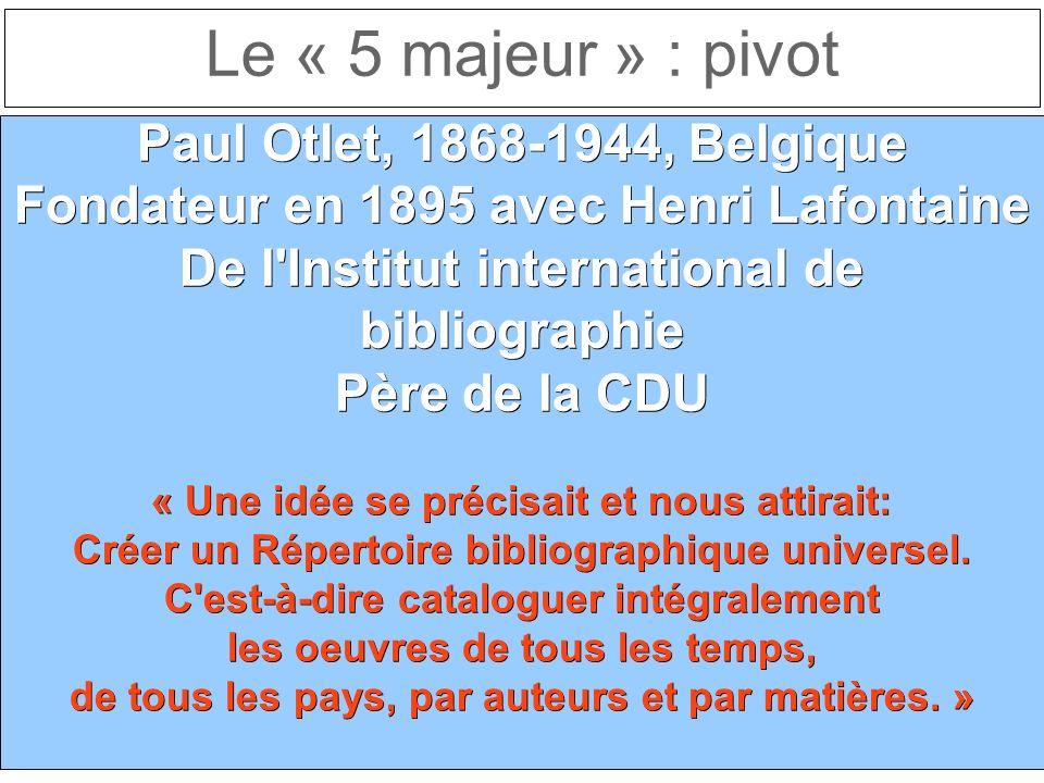 Le « 5 majeur » : pivot Paul Otlet, 1868-1944, Belgique Fondateur en 1895 avec Henri Lafontaine De l Institut international de bibliographie Père de la CDU « Une idée se précisait et nous attirait: Créer un Répertoire bibliographique universel.