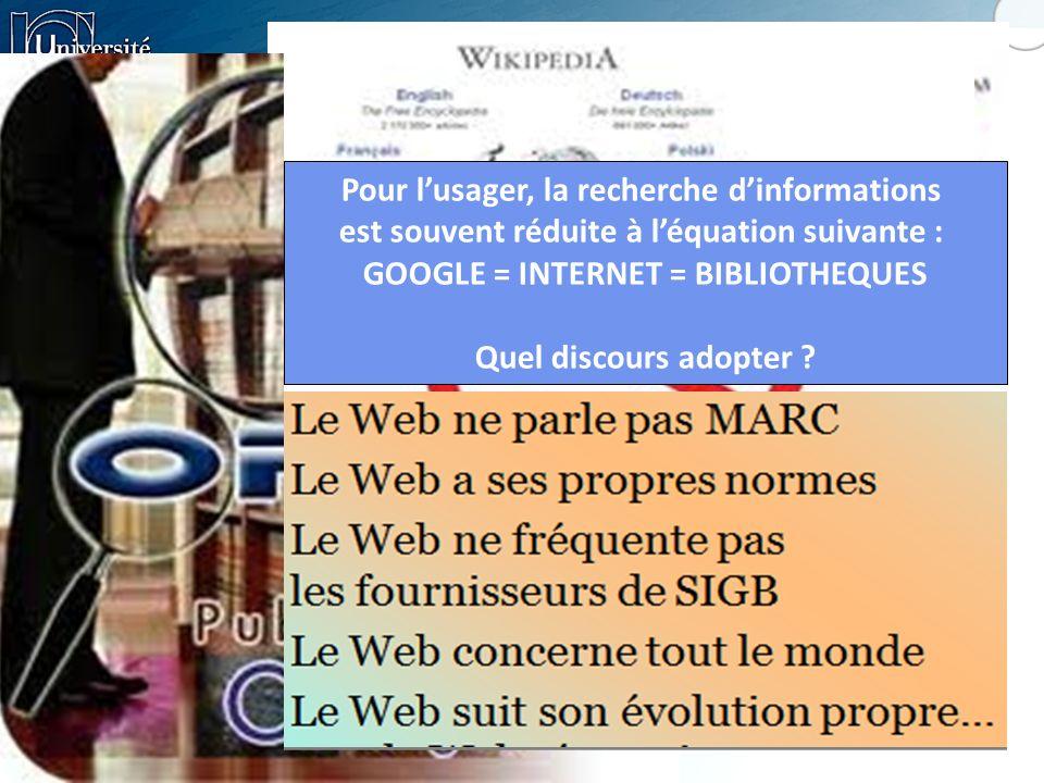 Pour lusager, la recherche dinformations est souvent réduite à léquation suivante : GOOGLE = INTERNET = BIBLIOTHEQUES Quel discours adopter ?