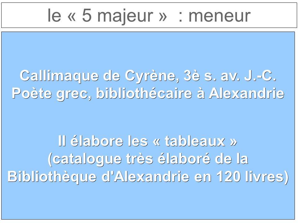 le « 5 majeur » : meneur Callimaque de Cyrène, 3è s.