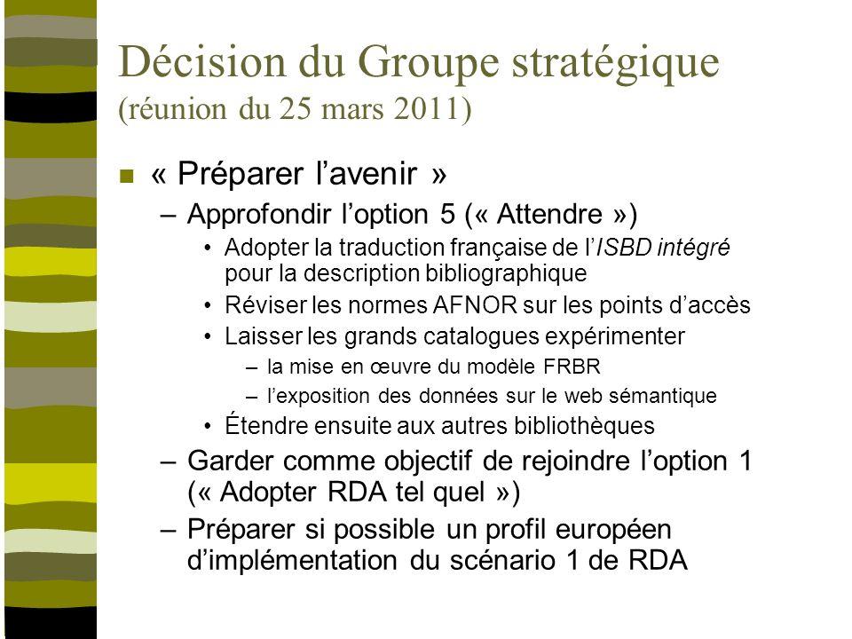 Commande du Groupe stratégique (réunion du 25 mars 2011) Poursuivre la réflexion sur ladoption de RDA selon les orientations définies –« Préparer lavenir » Évaluer les conséquences en termes de –Coût –Évolution des SIGB Implémentation du modèle FRBR dans les catalogues [scénario 1 de RDA] –Migration des données –Formation