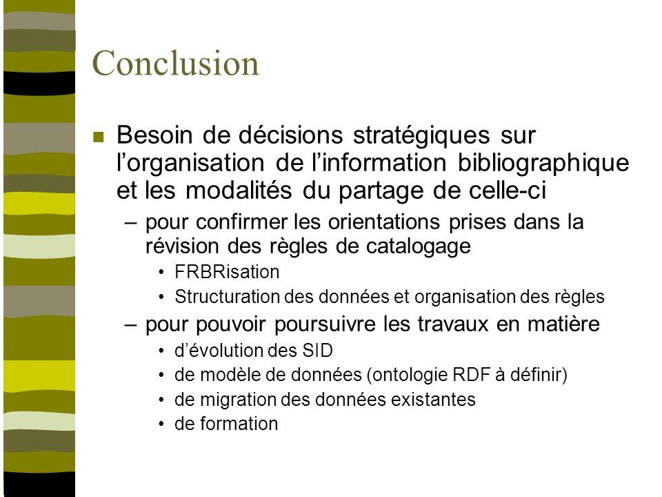 Conclusion Besoin de décisions stratégiques sur lorganisation de linformation bibliographique et les modalités du partage de celle-ci –pour confirmer les orientations prises dans la révision des règles de catalogage FRBRisation Structuration des données et organisation des règles –pour pouvoir poursuivre les travaux en matière dévolution des SID de modèle de données (ontologie RDF à définir) de migration des données existantes de formation