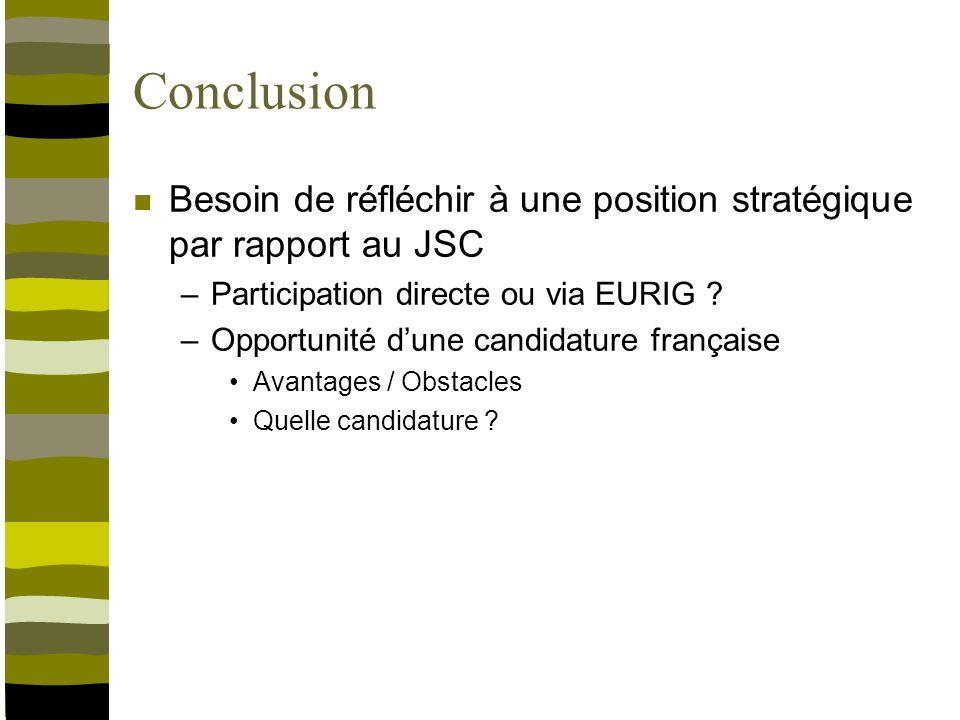 Conclusion Besoin de réfléchir à une position stratégique par rapport au JSC –Participation directe ou via EURIG .