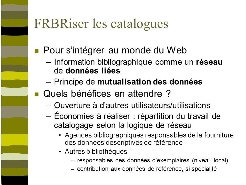 FRBRiser les catalogues Ce que cela implique –Faire le choix du Linked Open Data Lier plutôt que récupérer / dupliquer –Passer aux technologies du Web sémantique Mise en place dentrepôts RDF Capacité à créer et gérer des liens Besoin dune réflexion stratégique sur lévolution du paysage de linformation bibliographique en France