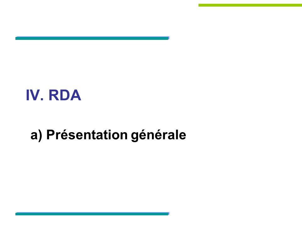 IV. RDA a) Présentation générale
