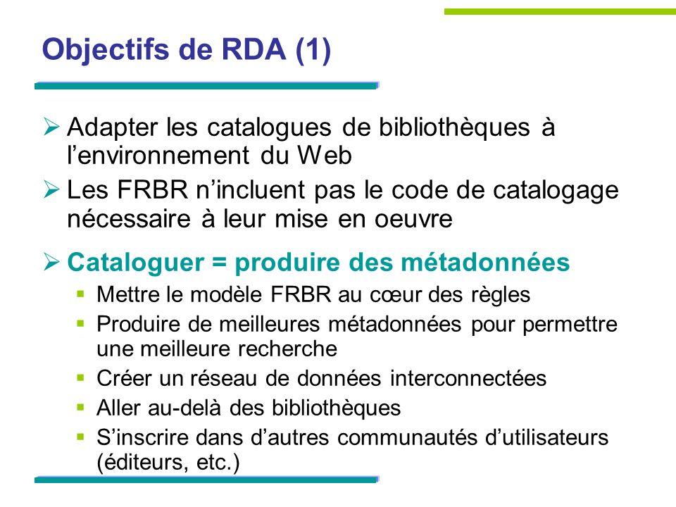 Objectifs de RDA (1) Adapter les catalogues de bibliothèques à lenvironnement du Web Les FRBR nincluent pas le code de catalogage nécessaire à leur mise en oeuvre Cataloguer = produire des métadonnées Mettre le modèle FRBR au cœur des règles Produire de meilleures métadonnées pour permettre une meilleure recherche Créer un réseau de données interconnectées Aller au-delà des bibliothèques Sinscrire dans dautres communautés dutilisateurs (éditeurs, etc.)