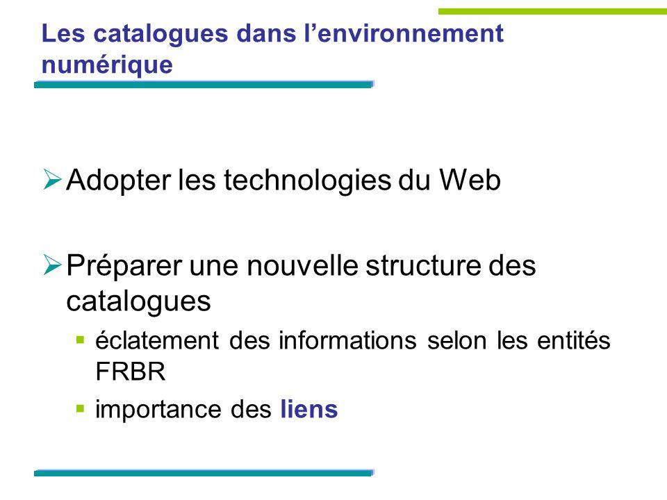 Les catalogues dans lenvironnement numérique Adopter les technologies du Web Préparer une nouvelle structure des catalogues éclatement des informations selon les entités FRBR importance des liens