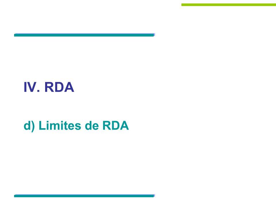 IV. RDA d) Limites de RDA
