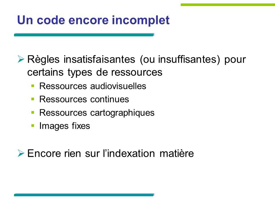 Un code encore incomplet Règles insatisfaisantes (ou insuffisantes) pour certains types de ressources Ressources audiovisuelles Ressources continues Ressources cartographiques Images fixes Encore rien sur lindexation matière