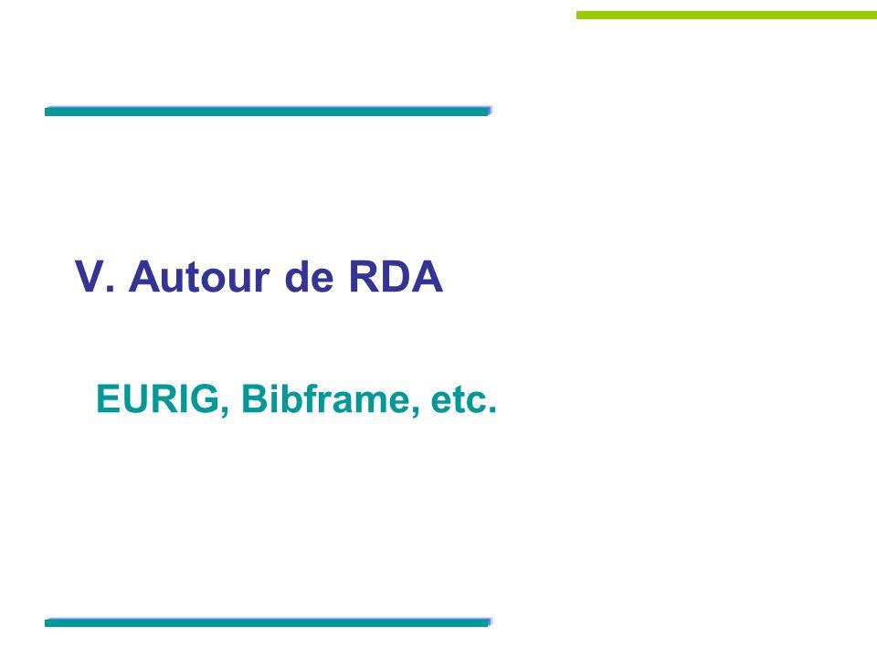 V. Autour de RDA EURIG, Bibframe, etc.