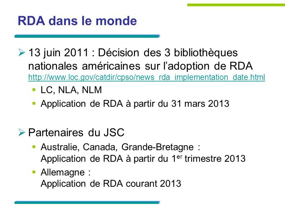 RDA dans le monde 13 juin 2011 : Décision des 3 bibliothèques nationales américaines sur ladoption de RDA http://www.loc.gov/catdir/cpso/news_rda_implementation_date.html http://www.loc.gov/catdir/cpso/news_rda_implementation_date.html LC, NLA, NLM Application de RDA à partir du 31 mars 2013 Partenaires du JSC Australie, Canada, Grande-Bretagne : Application de RDA à partir du 1 er trimestre 2013 Allemagne : Application de RDA courant 2013