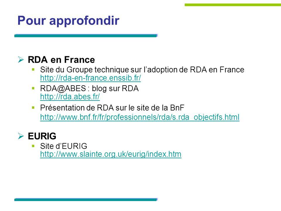 Pour approfondir RDA en France Site du Groupe technique sur ladoption de RDA en France http://rda-en-france.enssib.fr/ http://rda-en-france.enssib.fr/ RDA@ABES : blog sur RDA http://rda.abes.fr/ http://rda.abes.fr/ Présentation de RDA sur le site de la BnF http://www.bnf.fr/fr/professionnels/rda/s.rda_objectifs.html http://www.bnf.fr/fr/professionnels/rda/s.rda_objectifs.html EURIG Site dEURIG http://www.slainte.org.uk/eurig/index.htm http://www.slainte.org.uk/eurig/index.htm