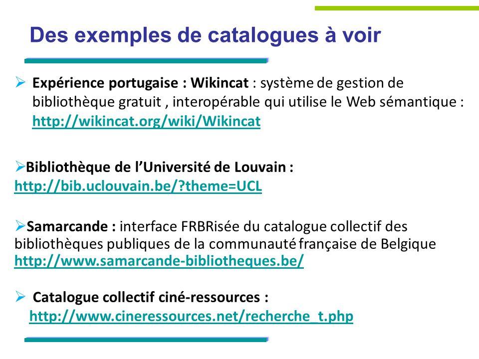 Des exemples de catalogues à voir Expérience portugaise : Wikincat : système de gestion de bibliothèque gratuit, interopérable qui utilise le Web sémantique : http://wikincat.org/wiki/Wikincat http://wikincat.org/wiki/Wikincat Bibliothèque de lUniversité de Louvain : http://bib.uclouvain.be/ theme=UCL Samarcande : interface FRBRisée du catalogue collectif des bibliothèques publiques de la communauté française de Belgique http://www.samarcande-bibliotheques.be/ Catalogue collectif ciné-ressources : http://www.cineressources.net/recherche_t.php http://www.cineressources.net/recherche_t.php