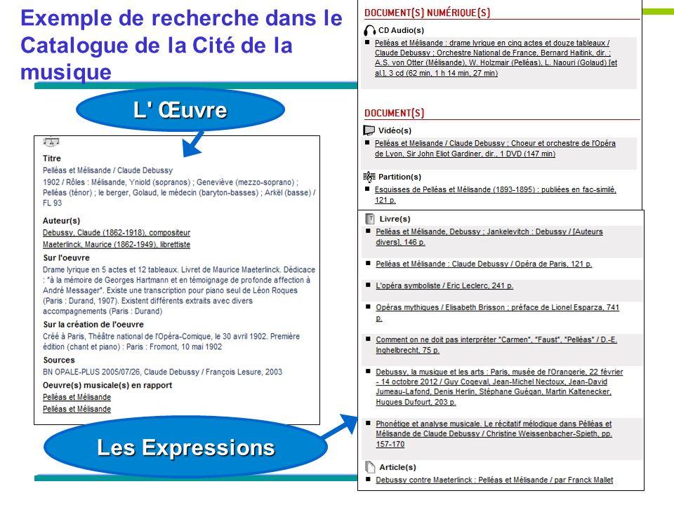 Exemple de recherche dans le Catalogue de la Cité de la musique L Œuvre Les Expressions
