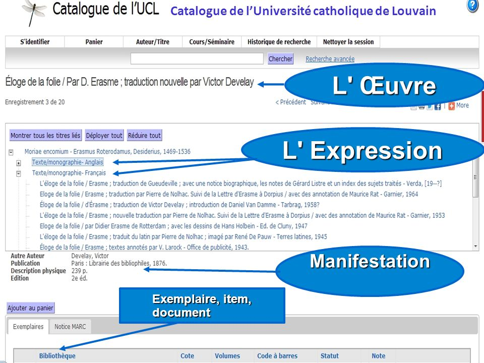 Catalogue de lUniversité catholique de Louvain L' Œuvre L' Expression Manifestation Exemplaire, item, document