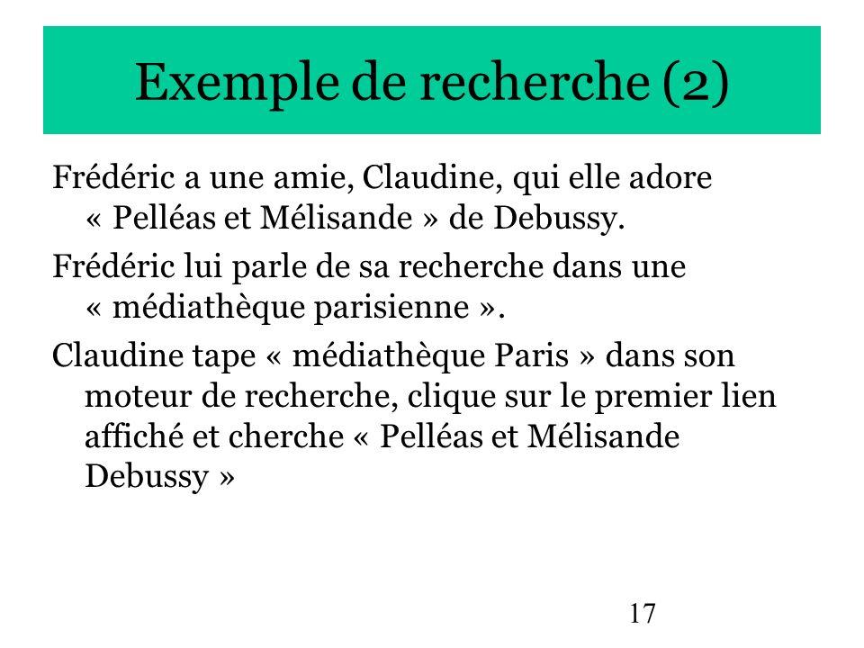 17 Exemple de recherche (2) Frédéric a une amie, Claudine, qui elle adore « Pelléas et Mélisande » de Debussy. Frédéric lui parle de sa recherche dans