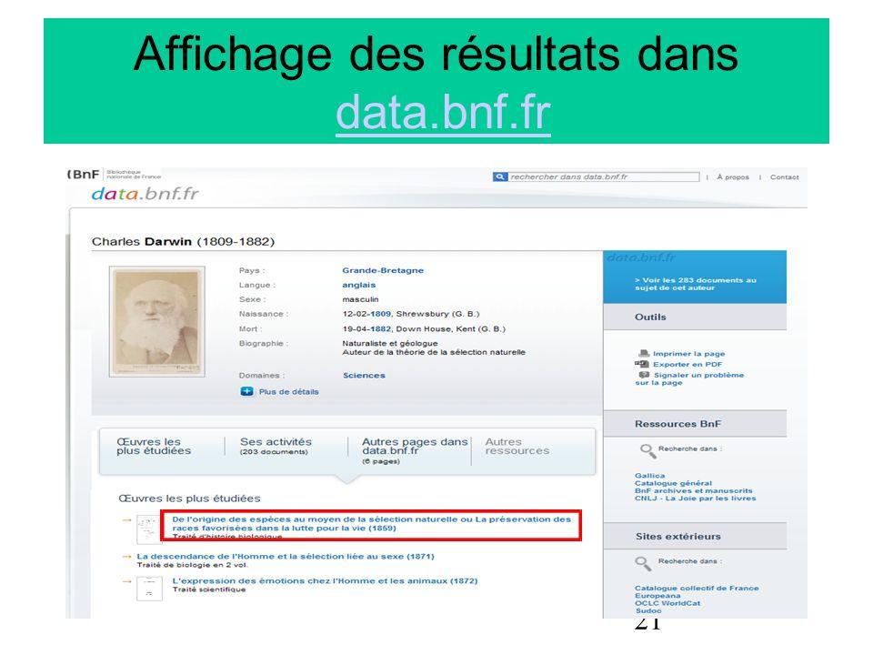 21 Affichage des résultats dans data.bnf.frdata.bnf.fr