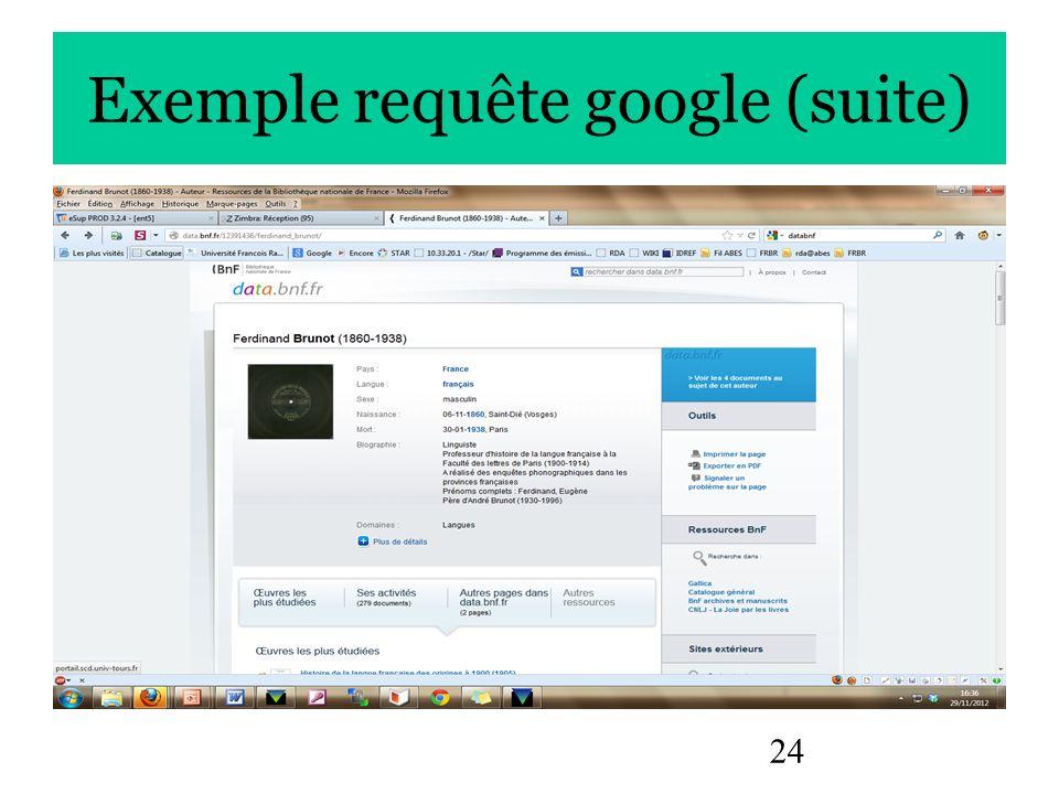 24 Exemple requête google (suite)
