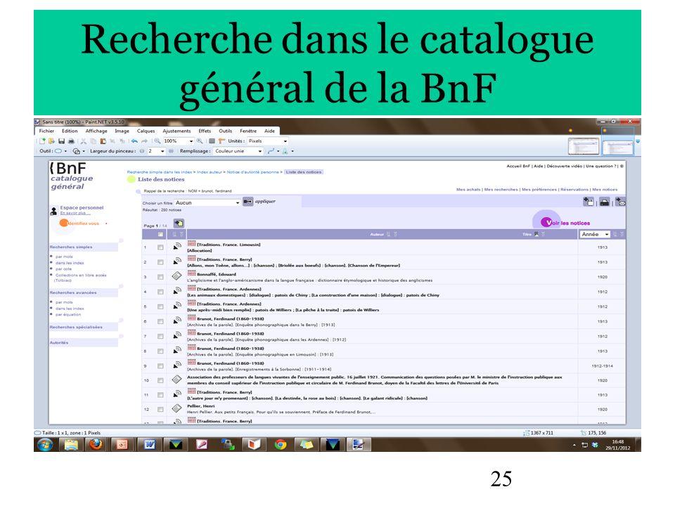 25 Recherche dans le catalogue général de la BnF