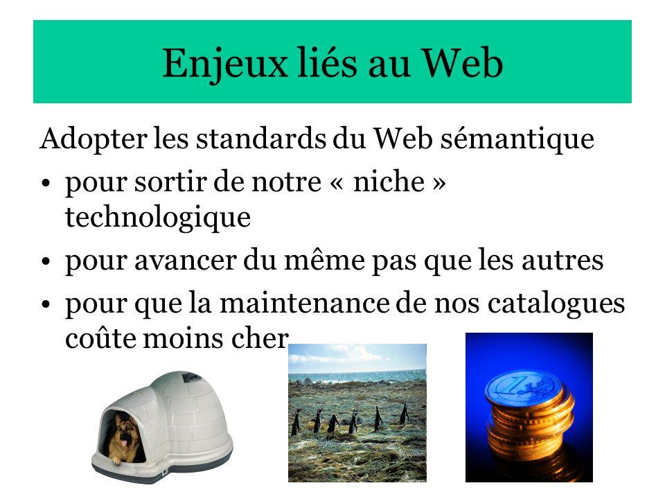 27 Enjeux liés au Web Adopter les standards du Web sémantique pour sortir de notre « niche » technologique pour avancer du même pas que les autres pou