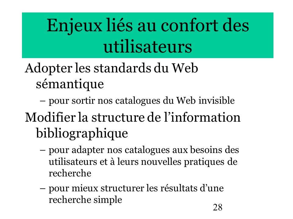 28 Enjeux liés au confort des utilisateurs Adopter les standards du Web sémantique –pour sortir nos catalogues du Web invisible Modifier la structure
