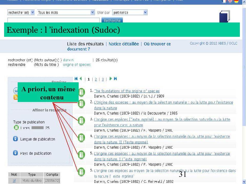 31 A priori, un même contenu Exemple : l indexation (Sudoc)