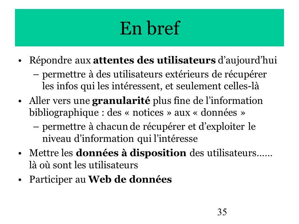 35 En bref Répondre aux attentes des utilisateurs daujourdhui –permettre à des utilisateurs extérieurs de récupérer les infos qui les intéressent, et