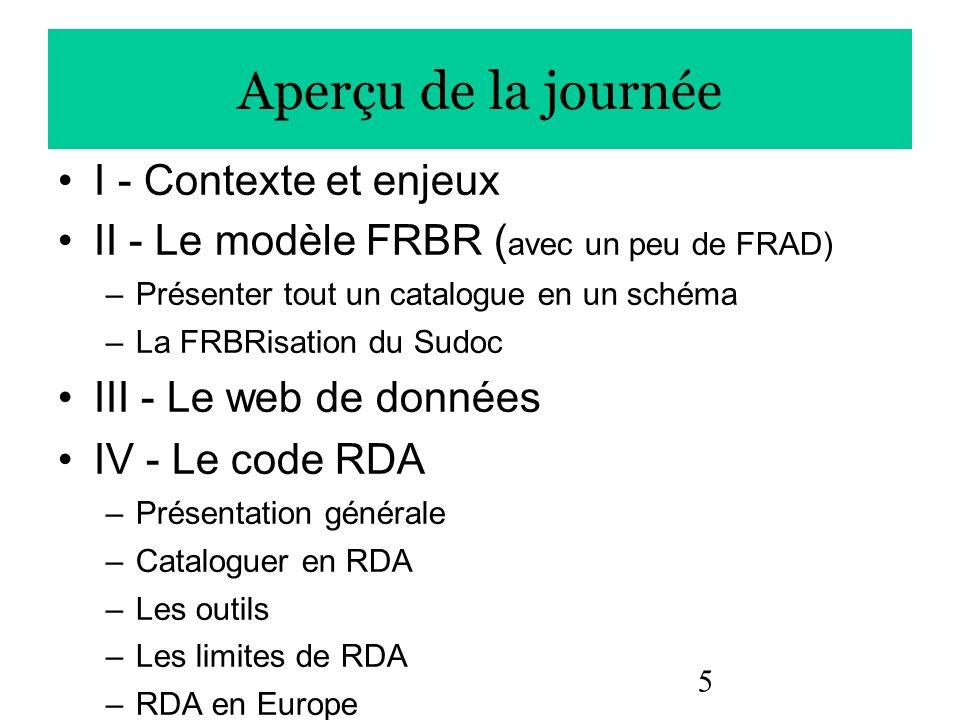 5 Aperçu de la journée I - Contexte et enjeux II - Le modèle FRBR ( avec un peu de FRAD) –Présenter tout un catalogue en un schéma –La FRBRisation du
