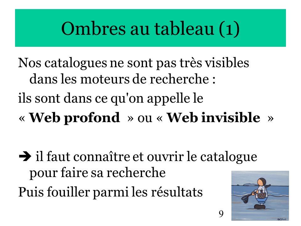9 Ombres au tableau (1) Nos catalogues ne sont pas très visibles dans les moteurs de recherche : ils sont dans ce qu'on appelle le « Web profond » ou