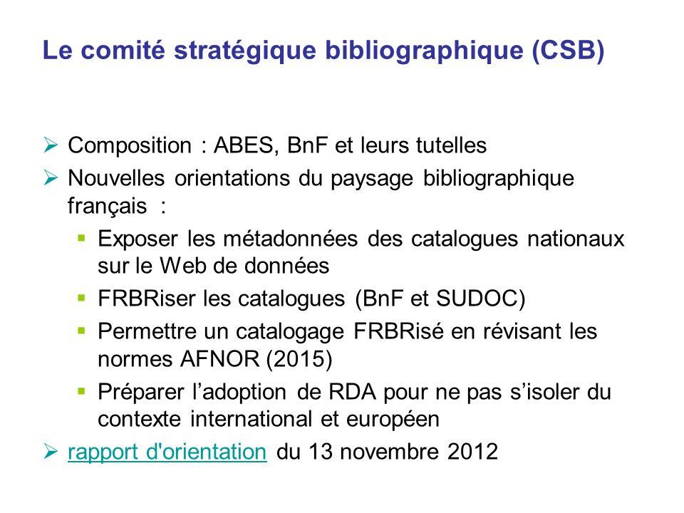 Le comité stratégique bibliographique (CSB) Composition : ABES, BnF et leurs tutelles Nouvelles orientations du paysage bibliographique français : Exp