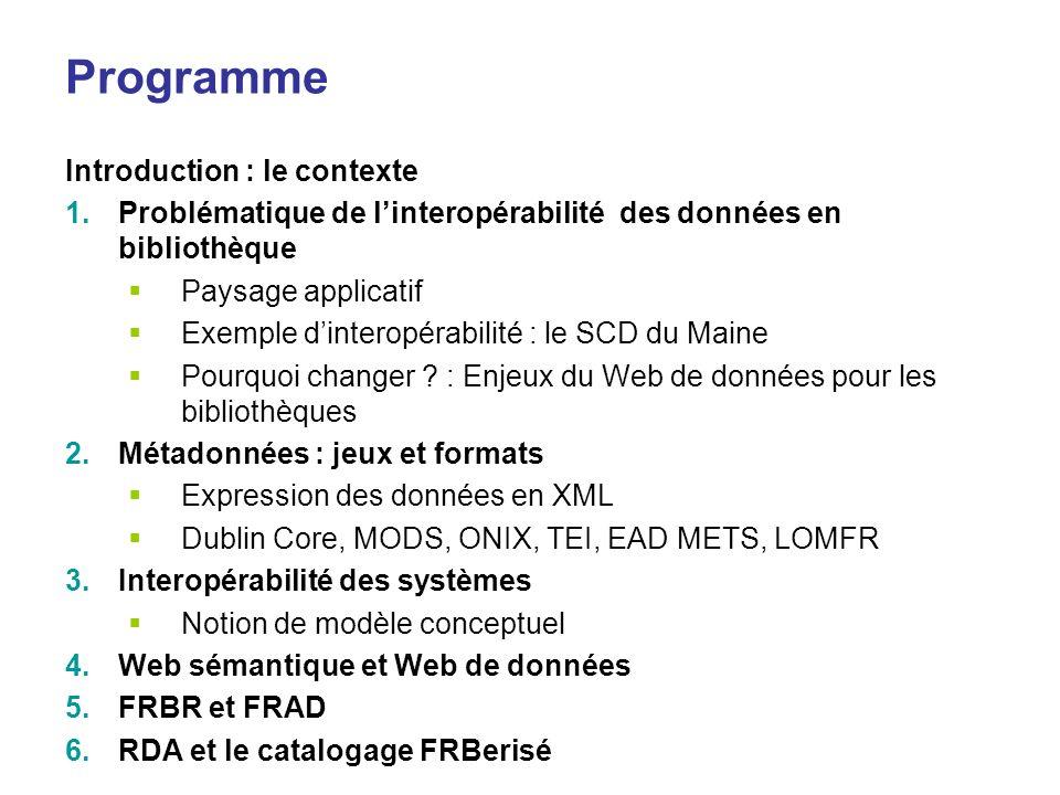 Programme Introduction : le contexte 1.Problématique de linteropérabilité des données en bibliothèque Paysage applicatif Exemple dinteropérabilité : l