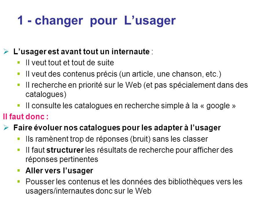 1 - changer pour Lusager Lusager est avant tout un internaute : Il veut tout et tout de suite Il veut des contenus précis (un article, une chanson, et