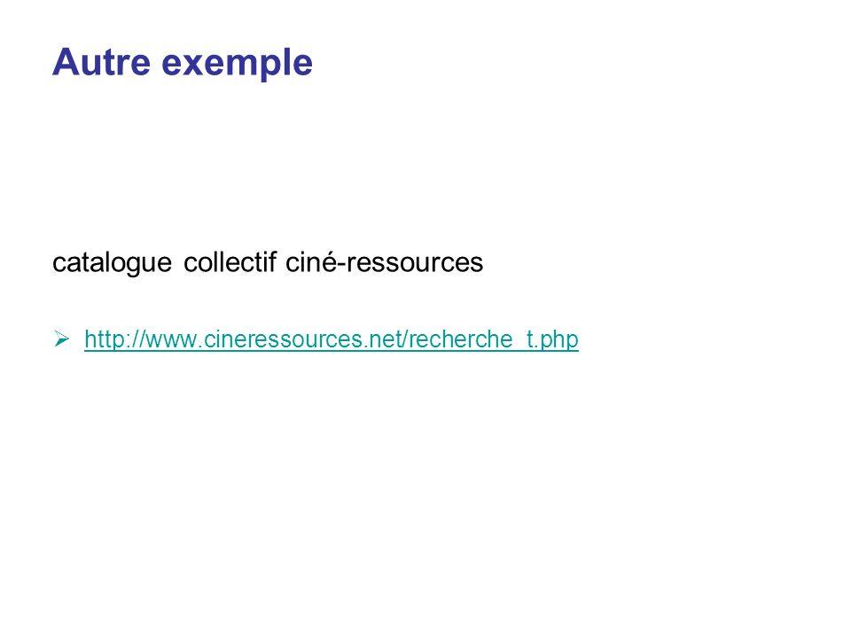 Autre exemple catalogue collectif ciné-ressources http://www.cineressources.net/recherche_t.php