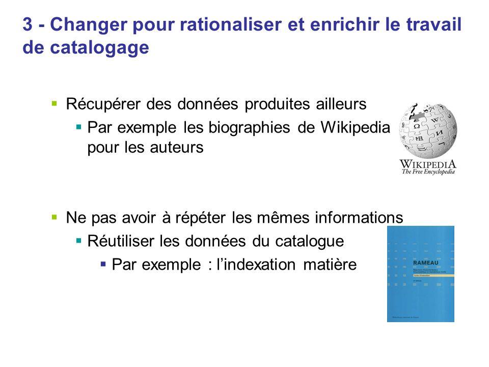 3 - Changer pour rationaliser et enrichir le travail de catalogage Récupérer des données produites ailleurs Par exemple les biographies de Wikipedia p