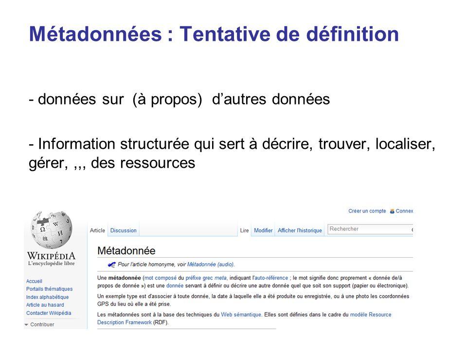 Métadonnées : Tentative de définition - données sur (à propos) dautres données - Information structurée qui sert à décrire, trouver, localiser, gérer,