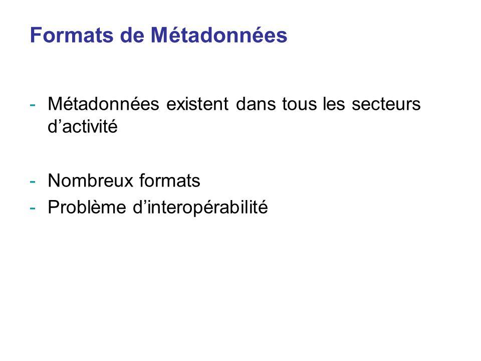 Formats de Métadonnées -Métadonnées existent dans tous les secteurs dactivité -Nombreux formats -Problème dinteropérabilité