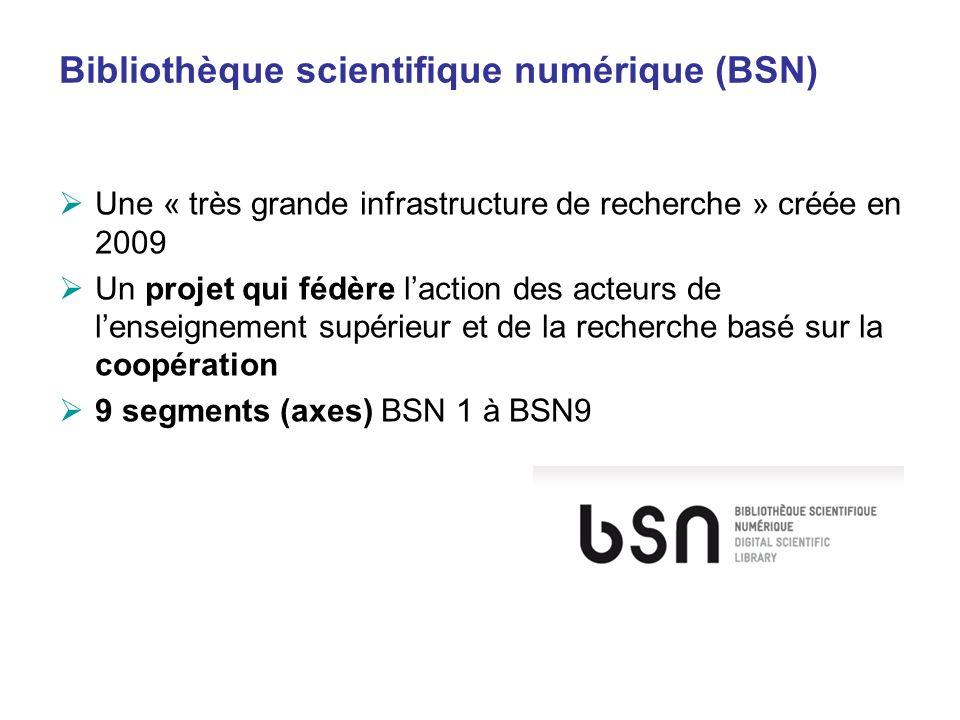 Bibliothèque scientifique numérique (BSN) Une « très grande infrastructure de recherche » créée en 2009 Un projet qui fédère laction des acteurs de le