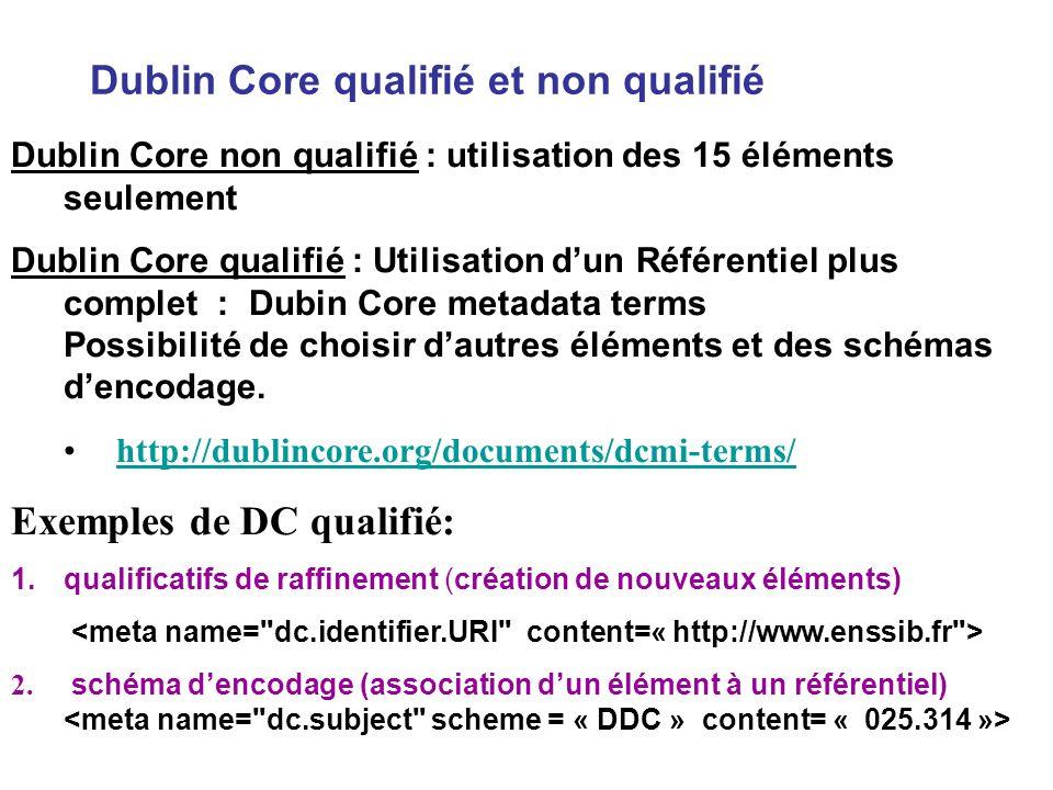 Dublin Core qualifié et non qualifié Dublin Core non qualifié : utilisation des 15 éléments seulement Dublin Core qualifié : Utilisation dun Référenti