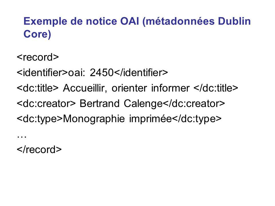 Exemple de notice OAI (métadonnées Dublin Core) oai: 2450 Accueillir, orienter informer Bertrand Calenge Monographie imprimée …
