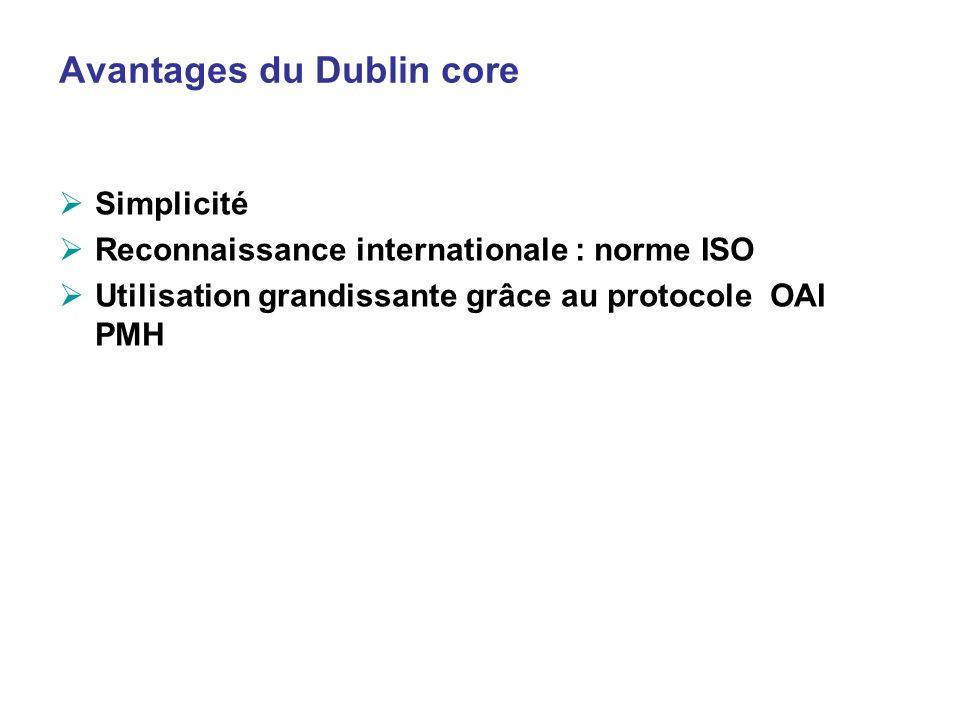 Avantages du Dublin core Simplicité Reconnaissance internationale : norme ISO Utilisation grandissante grâce au protocole OAI PMH