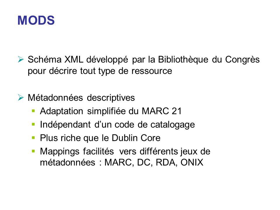 MODS Schéma XML développé par la Bibliothèque du Congrès pour décrire tout type de ressource Métadonnées descriptives Adaptation simplifiée du MARC 21