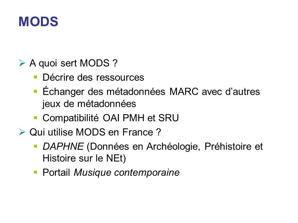MODS A quoi sert MODS ? Décrire des ressources Échanger des métadonnées MARC avec dautres jeux de métadonnées Compatibilité OAI PMH et SRU Qui utilise