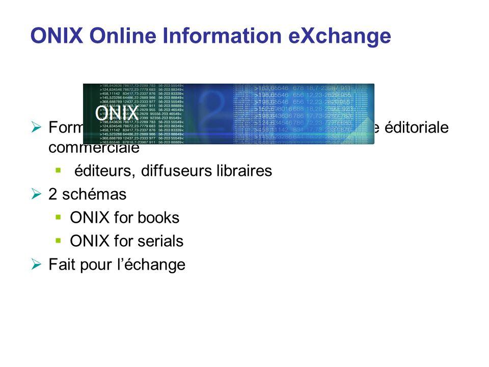 ONIX Online Information eXchange Format de métadonnées en XML de la chaîne éditoriale commerciale éditeurs, diffuseurs libraires 2 schémas ONIX for bo