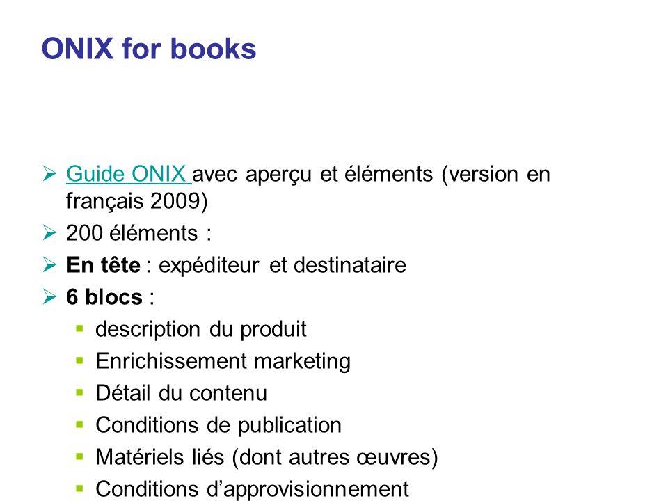 ONIX for books Guide ONIX avec aperçu et éléments (version en français 2009) Guide ONIX 200 éléments : En tête : expéditeur et destinataire 6 blocs :