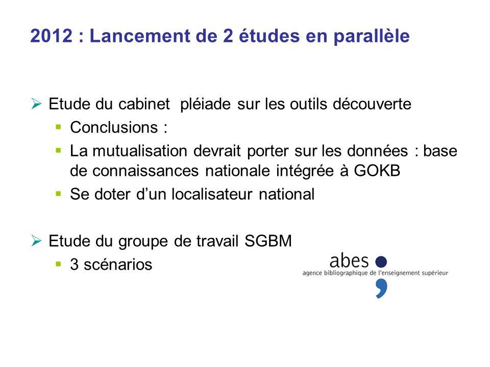 2012 : Lancement de 2 études en parallèle Etude du cabinet pléiade sur les outils découverte Conclusions : La mutualisation devrait porter sur les don
