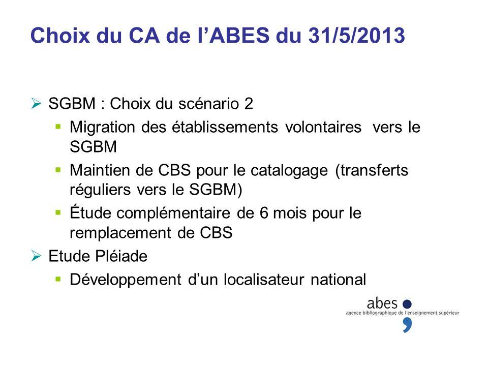Choix du CA de lABES du 31/5/2013 SGBM : Choix du scénario 2 Migration des établissements volontaires vers le SGBM Maintien de CBS pour le catalogage