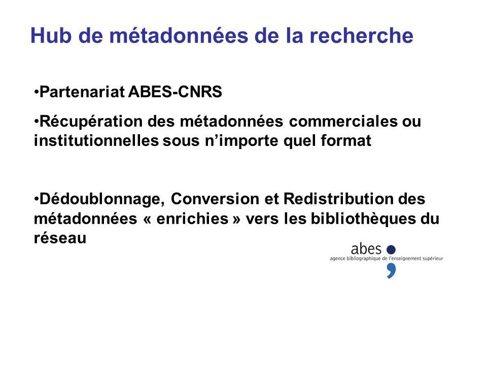 Hub de métadonnées de la recherche Partenariat ABES-CNRS Récupération des métadonnées commerciales ou institutionnelles sous nimporte quel format Dédo