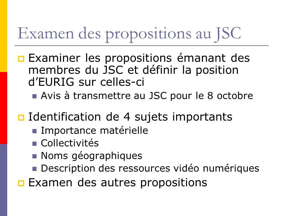 Examen des propositions au JSC Examiner les propositions émanant des membres du JSC et définir la position dEURIG sur celles-ci Avis à transmettre au JSC pour le 8 octobre Identification de 4 sujets importants Importance matérielle Collectivités Noms géographiques Description des ressources vidéo numériques Examen des autres propositions