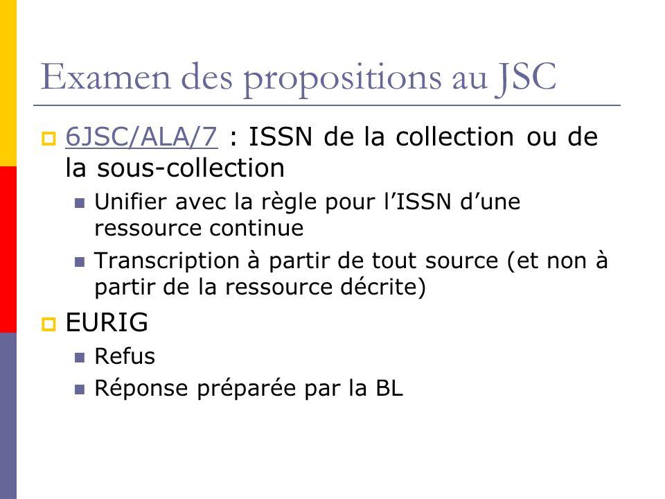 Examen des propositions au JSC 6JSC/ALA/7 : ISSN de la collection ou de la sous-collection 6JSC/ALA/7 Unifier avec la règle pour lISSN dune ressource continue Transcription à partir de tout source (et non à partir de la ressource décrite) EURIG Refus Réponse préparée par la BL