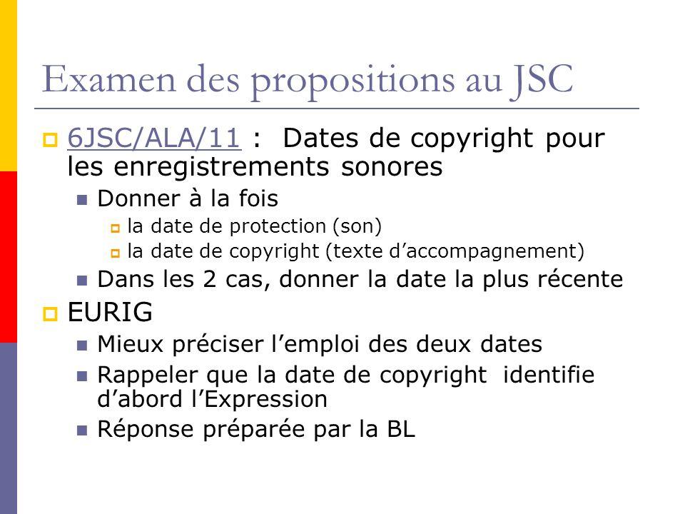 Examen des propositions au JSC 6JSC/ALA/11 : Dates de copyright pour les enregistrements sonores 6JSC/ALA/11 Donner à la fois la date de protection (son) la date de copyright (texte daccompagnement) Dans les 2 cas, donner la date la plus récente EURIG Mieux préciser lemploi des deux dates Rappeler que la date de copyright identifie dabord lExpression Réponse préparée par la BL